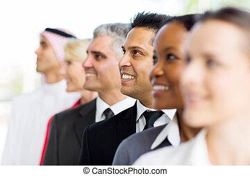 standing, uomo affari, indiano, fila
