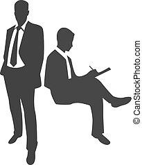 standing, uomo affari, silhouette, scrittura