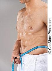 standing, vita, isolato, nudo, towel., grigio, su, fondo, misura, chiudere, maschio bianco, torso, sopra