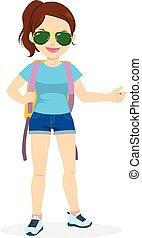 Standing Woman Hitchhiking