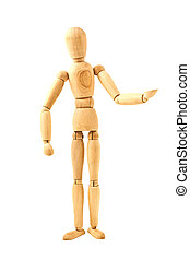 standing wooden dummy isolated