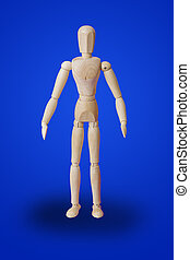 Standing wooden toy figure on blue