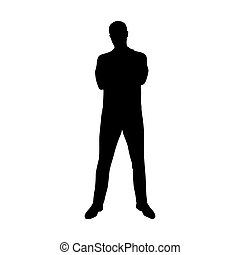 Standing young man in polo shirt with folded arms, front view, vector silhouette