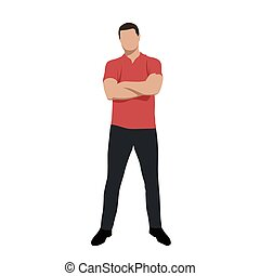 Standing young man in red polo shirt with folded arms, front view, vector silhouette