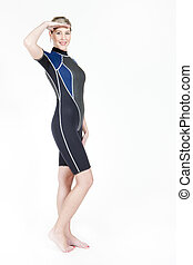 standing young woman wearing neoprene