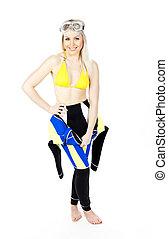 standing young woman wearing neoprene