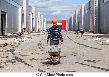 standort, baugewerbe, schubkarren, bauunternehmer, tragen, beton