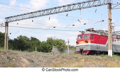 stands, été, chemin fer, départ, avant, jour, train, ...