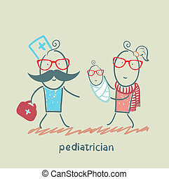 stands, elle, mère, suivant, pédiatre, enfant malade