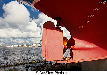 stands, fond, hélice, bateau, plage, port