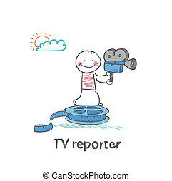 stands, journaliste, tv, garde, caméscope, pellicule