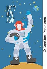 stands, main., space., lune, onduler, year., vecteur, chimpanzés, illustration, nouveau, spacesuit, astronaute, heureux, rouges, singe