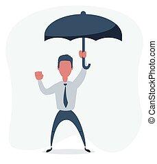stands, parapluie, homme affaires, sous, heureux