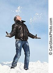 stands, regarde, homme neige, ciel, lancement, lui, mains