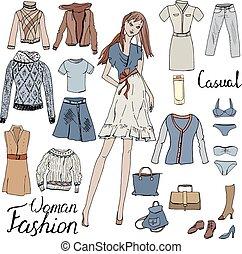 stands., set, clothes., donna, undress., frase, modello, calligrafia, moda, casuale, stile