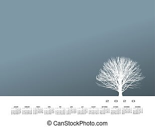 stands, solitaire, arbre hiver, fort