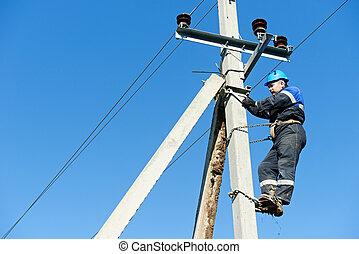 stange, arbeit, elektriker, streckenarbeiter, macht