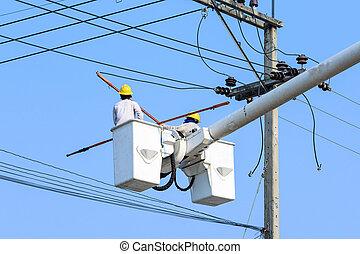 stange, elektriker, elektrisch, arbeitende