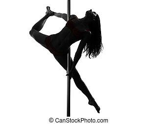 stange, tänzer, silhouette, frau