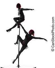 stange, tänzer, silhouette, zwei frauen