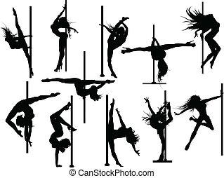 stange, tänzer, silhouetten