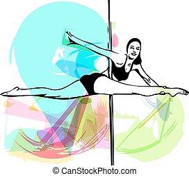 stange, tanz, frau, abbildung