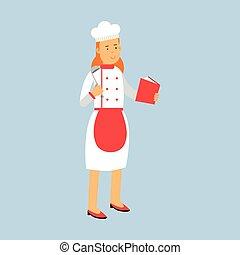 stanie samica, chochla, recepta, litera, ilustracja, jednolity, mistrz kucharski, wektor, dzierżawa, kok, książka