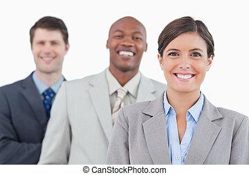stanie uśmiechnięte, handlowy, razem, drużyna