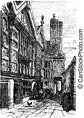 Stanley Palace, in Chester, Cheshire, United Kingdom, during the 1890s, vintage engraving