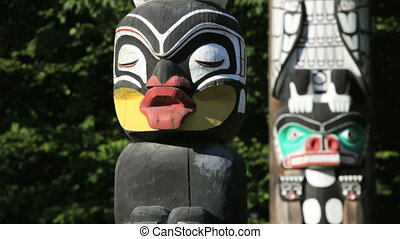 Stanley Park Totem Poles - Vancouver, BC, Canada, downtown...