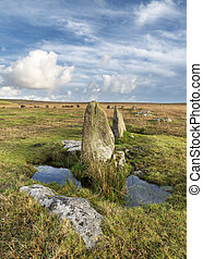 Standing stones at the Stannon Stone Circle below Rough Tor on Bodmin Moor in Cornwall