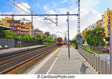 stantion., voorstedelijk, trein, spoorwegen, spoorweg