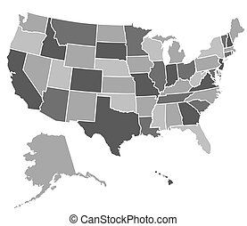 stany, mapa, zjednoczony