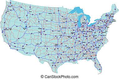 stany, mapa, zjednoczony, międzystanowy