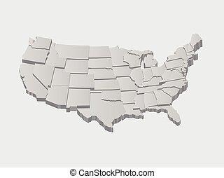stany, mapa, zjednoczony, wektor, 3d