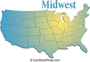 stany, na, zachód, średni, mapa, regionalny
