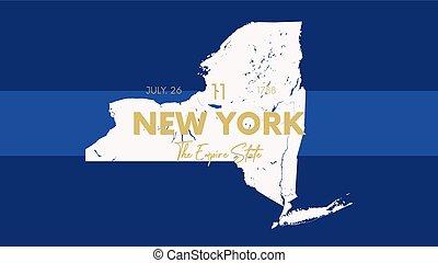 stany, wektor, korespondentki, nazwa, szczegółowy, 11, afisze, 50, zjednoczenie, uznany, nowy, t-koszule, mapa, data, zjednoczony, york, nickname, druk