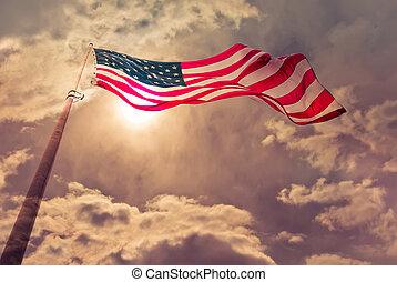 stany zjednoczona bandera, sapie, w wietrze