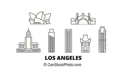stany zjednoczony, los anieli, kreska, podróż, sylwetka na tle nieba, set., stany zjednoczony, los anieli, szkic, miasto, wektor, ilustracja, symbol, podróż, cele, landmarks.