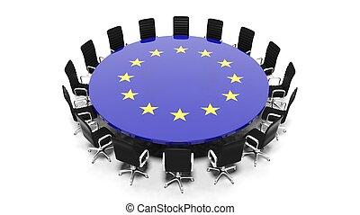 stanza, bandiera, isolato, unioni, tavola, bianco, riunione, rotondo, europeo