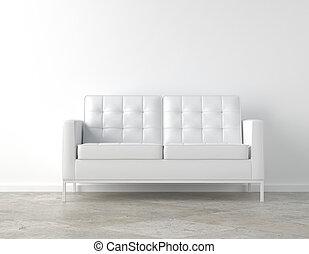 stanza bianca, e, divano