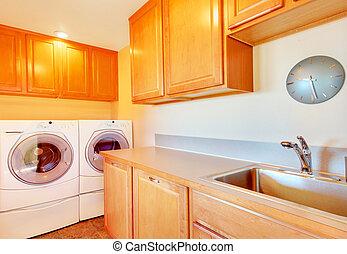 stanza bucato, cabinets., luce, moderno, apparecchi, tono
