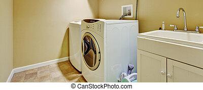 stanza bucato, moderno, gabinetto, apparecchi, vecchio