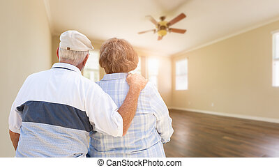 stanza, casa, coppia, dall'aspetto, anziano, vuoto
