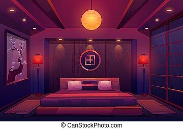 stanza, cinese, giapponese, camera letto, asiatico, notte