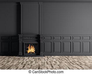 stanza, classico, parete, sopra, interpretazione, nero, interno, caminetto, vuoto, 3d