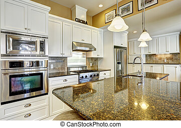 stanza, combinazione, magazzino, cime, granito, bianco, cucina