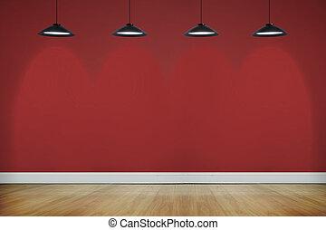 stanza, con, pavimento legno, illuminato, con, riflettori