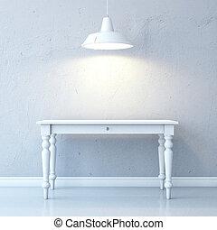 stanza, con, tavola, e, lampada soffitto