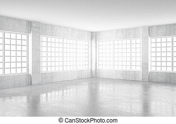 stanza, concreto, windows, interpretazione, luce, vuoto, 3d